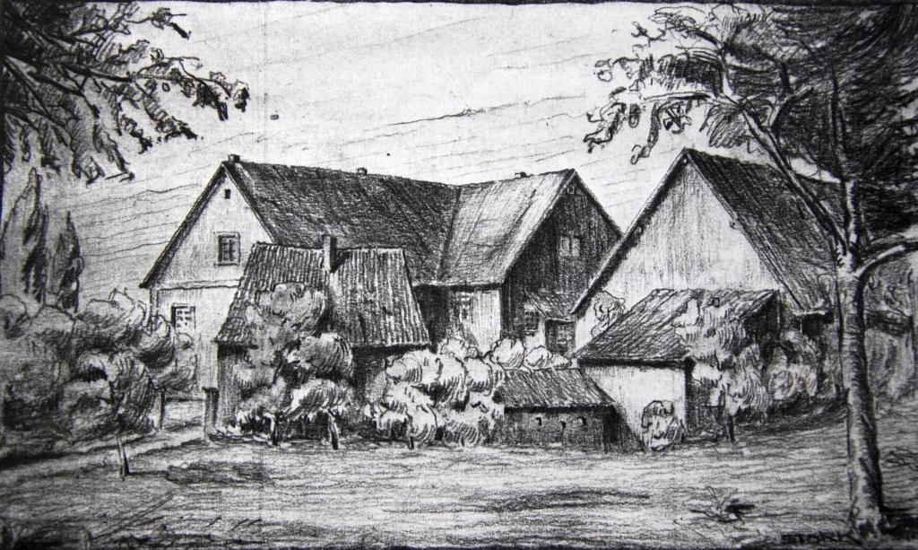 Die Untermühle um 1900 (Kohlezeichnung, Stork)
